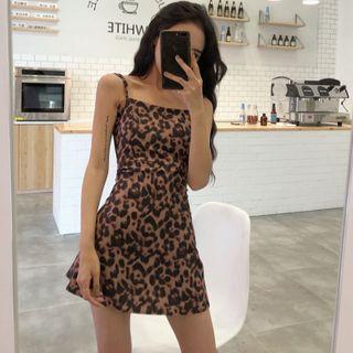 EROPIA - Spaghetti Strap Leopard Print Mini Dress