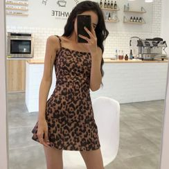 EROPIA - Spaghetti Strap Leopard Print Mini Dress