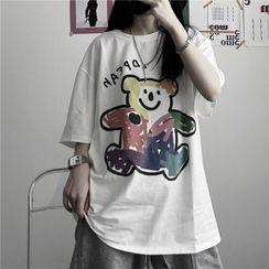 santrani - Short-Sleeve Bear Printed T-Shirt