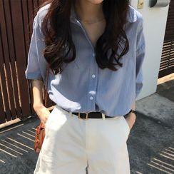 Tiny Times - 中袖纯色衬衫