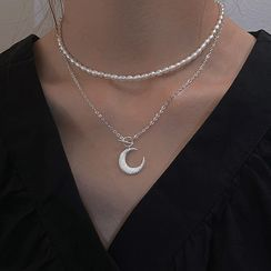 SWART - 月亮吊坠纯银项链 / 仿珍珠贴脖项链 / 套装