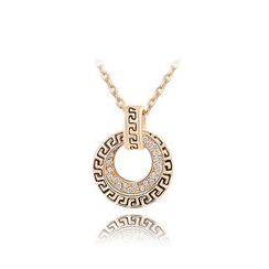 BELEC - Retro Rose Gold Plated Pendant with White Austrian Element Crystal and Necklace
