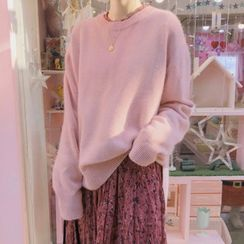 Yunhouse(ユンハウス) - Plain Crew-Neck Sweater / Flower Print Long-Sleeve Midi Shift Dress