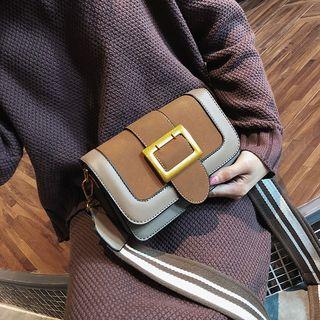 NewTown - Faux Leather Color Panel Buckled Shoulder Bag