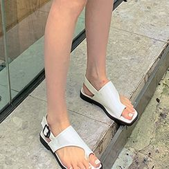 FROMBEGINNING - Toe-Loop Slingback Slide Sandals