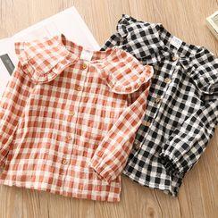 贝壳童装 - 儿童长袖格纹衬衫