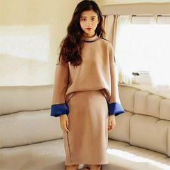 Clair Fashion - Set : Color-Block Top + Skirt