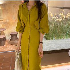 Moss Studio - Long-Sleeve Midi Shirt Dress