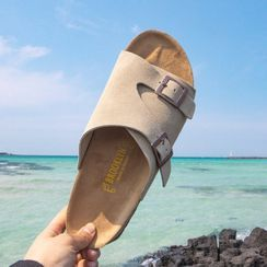 Seoul Homme - Buckled Faux-Suede Slide Sandals