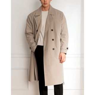 STYLEMAN - Double-Breasted Oversized Trench Coat with Sash