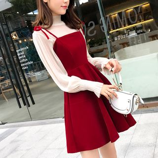 Heart of Hearts - Set: Long-Sleeve Turtleneck Top + Shoulder-Tie A-Line Dress