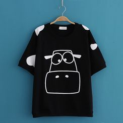 Kawaii Fairyland - Cow Print Round-Neck Short Sleeve T-Shirt
