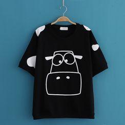 Kawaii Fairyland - Cow Print Round-Neck Short Sleeve T-Shirt