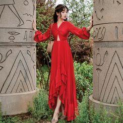 Leonnah - Puff-Sleeve Twisted Cutout Midi A-Line Dress