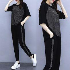 Elbelier - 套裝: 中袖T裇 + 運動褲