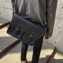 MRCYC - Plain Faux Leather Crossbody Briefcase