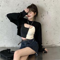 PINPI - 長袖純色短款上衣/插色吊帶背心