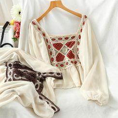 Miss Puff - Long-Sleeve Knit Panel Chiffon Top