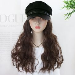 HSIU - Long Full Wig with Beret Hat  - Wavy