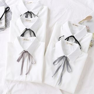 PERFASHIONIST - 长袖领结带衬衫