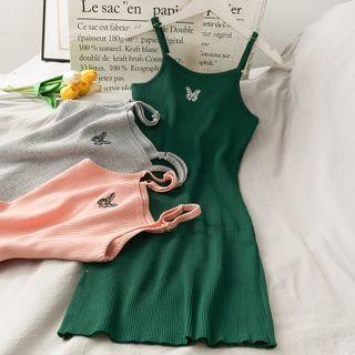 Lemongrass - Butterfly-Embroidery Tank Dress