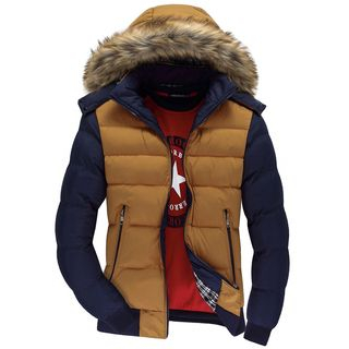 Carser - Furry Trim Color Panel Hooded Padded Jacket