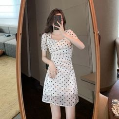 Luminato(ルミナート) - Short-Sleeve Dotted Mini A-Line Dress