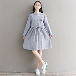 Fancy Show - Stand Collar Embroidery Pinstripe A-Line Dress