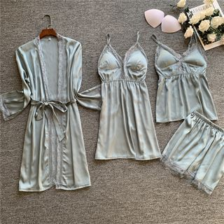 Almilo - Pajama Set: Lace Trim Camisole Top + Shorts + Spaghetti Strap Pajama Dress + Lace Trim Robe