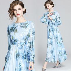 Yonna - Floral Print Maxi A-Line Chiffon Dress