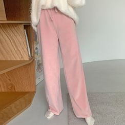 FROMBEGINNING - Drawcord Wide Velour Pants
