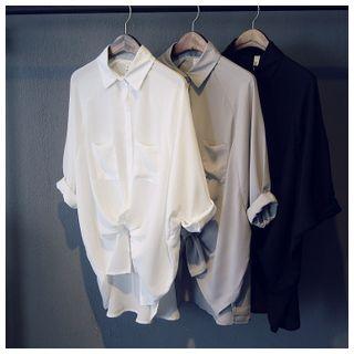 Glovon - Cropped-Bluse aus Chiffon mit Dolman-Ärmeln