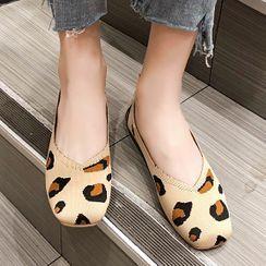 Cumuggo - Leopard Print Knit Flats