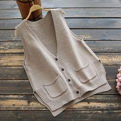 YOYO - 饰口袋针织马甲
