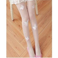 ULGA - Butterfly Embroidered Tights
