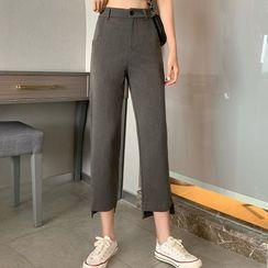 KAKAGA - Cropped Irregular Hem Dress Pants