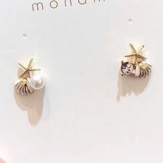 True Glam - Faux Pearl Alloy Starfish Earring