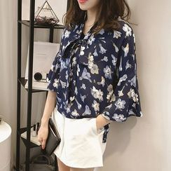 Lomond - Bell-Sleeve Floral Blouse
