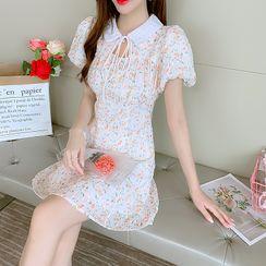 Petit Lace - Short-Sleeve Square Neck A-Line Dress