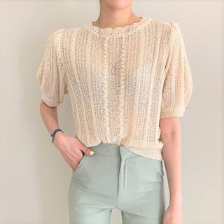 HW Studio - See-Through Short-Sleeve Knit Top