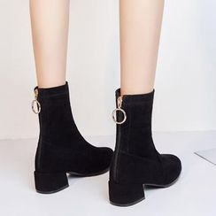 JY Shoes - Low-Heel Short Boots