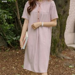 JUSTONE - Half-Placket Tie-Waist Midi Dress