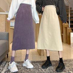 Dute - Corduroy A-Line Midi Skirt