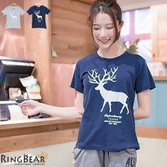 RingBear - Short Sleeve Deer Printed Tee