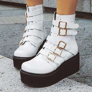 Aegina - Faux Leather Buckled Platform Short Boots