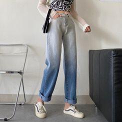 FUNJUAN - Gradient Straight-Fit Jeans