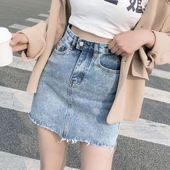 Denimot - Frayed Hem A-Line Mini Denim Skirt
