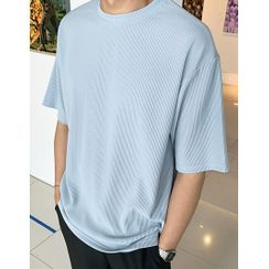 GERIO - Boxy-Fit Ribbed T-Shirt