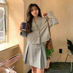 FROMBEGINNING - Setup Box-Pleat Mini Skirt