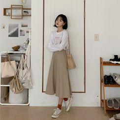 MERONGSHOP - Band-Waist A-Line Skirt